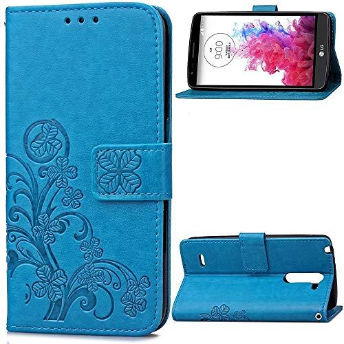 JiuRui-504 Kuaijiexiaopu Fundas para LG G3 Stylus D690, Flip PU Cuero + TPU Holder Funda de la Cartera con Ranura para la Tarjeta para LG G3 Stylus (Color : Blue)