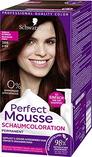 SCHWARZKOPF PERFECT MOUSSE Permanente Schaumcoloration 388 Dunkles Rotbraun Stufe 3, 3er Pack (3 x 92,5 ml)