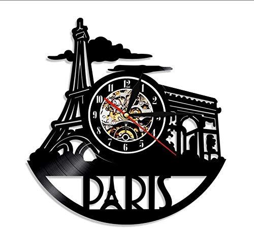 TIANZly 1 Pieza Reloj de Pared de París Torre Eiffel Ciudad del Amor París Reloj de Pared de Vinilo francés Reloj de Pared de la Capital Francesa París Skyline
