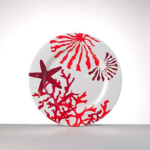 Mario Luca Giusti Set 6 Corallo Assiette Plate diam. 23cm Rouge