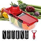 6 in 1 taglia verdure, regolabile taglia verdure, mandolina affettatrice, multifunzione slicer, con contenitore per alimenti, adatto per tagliare vari tipi di frutta e verdura