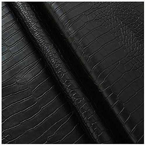 NIANTONG Tela de Polipiel por Metros con Estampado de Cocodrilo 138cm de Ancho PU Cuero Sintético para Muebles Sillón Tapicería, Manualidades, Decoraciones(Color:black3)