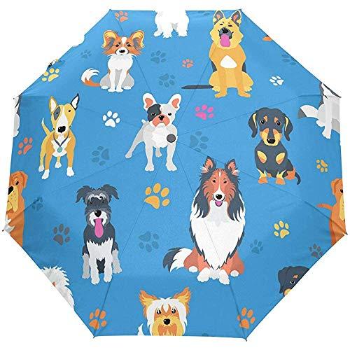 Schattige hond puppy dier blauw auto open paraplu zon regen paraplu anti-UV vouwen compacte automatische paraplu