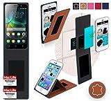 Hülle für Huawei Honor 4C Tasche Cover Hülle Bumper   Braun Leder   Testsieger