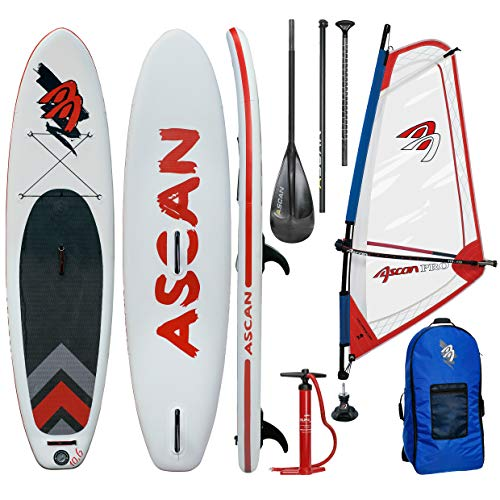 Ascan Wind SUP Board 10.6 Windsurf SUP mit Finne + Reparatur Set + komplett Windsurf Rigg Set rot/blau (3,5qm)