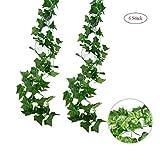 6 Stück Efeugirlande Künstlich Hängende Rebe 2M, 80 stücke der blätter Efeu Efeuranke Kunstblumen für Hochzeit Party Garten Festival Dekorationen Wanddekoration (grün 6Stück)