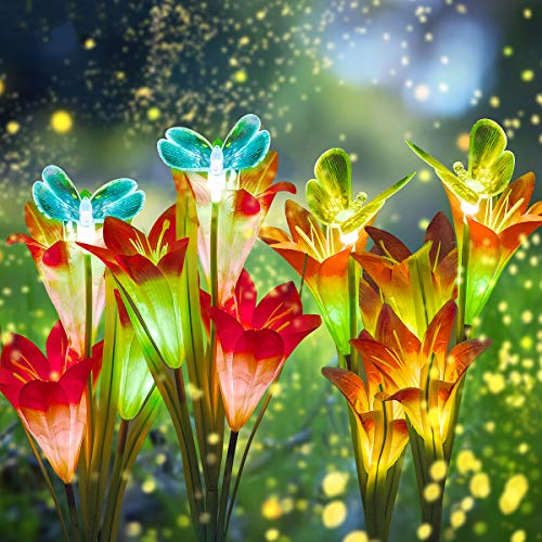 DUUDO Solar Garden Lights, Upgraded Solar Flower Lights with Lily Flowers & Butterfly, Multicolor Solar Lights Outdoor Decorative for Patio, Backyard, Garden (Red & Purple, 4 Packs)