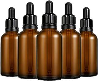 Lurrose 10 peças 30 ml frascos de vidro vazio recarregáveis recipientes de óleo essencial âmbar com conta-gotas e tampa Pe...