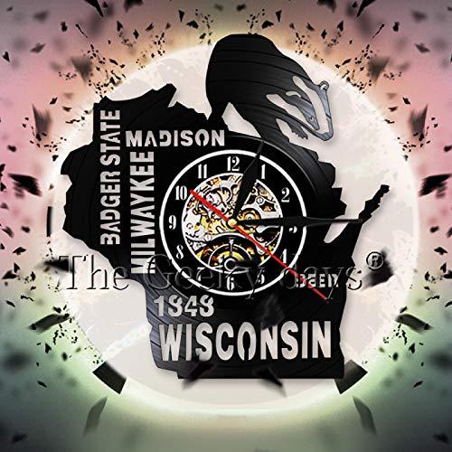 LIMN Wisconsin Badger State Beer decoración de la Pared Vinilo Disco Reloj Hombre Cueva Bar Signo Reloj de Pared Vintage Arte de Pared Mejor Idea de Regalo de Viaje