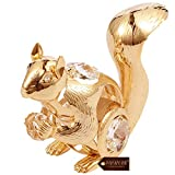 Matashi 24K Gold Plated Crystal Studded Squirrel Ornament Tabletop Showpiece - Gift for Christmas Anniversary Birthday Valentine's Day Mother's Day Home Office Decor
