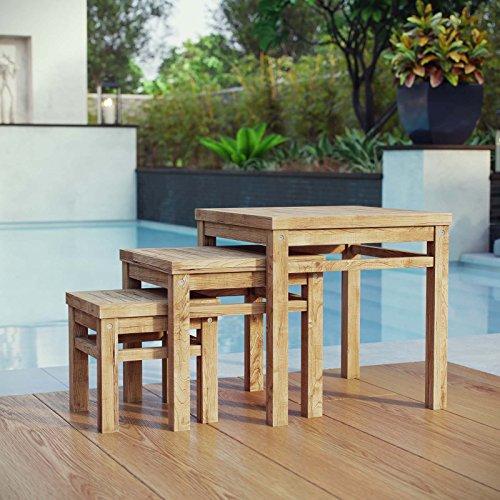 Modway EEI-2704-NAT Marina Premium Grade A Teak Wood Outdoor Patio 3-Piece Nesting Tables, Natural