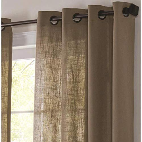allen + roth AR Logan Camel 52-in x 84-in PNL 84-in Camel Polyester Light Filtering Single Curtain Panel