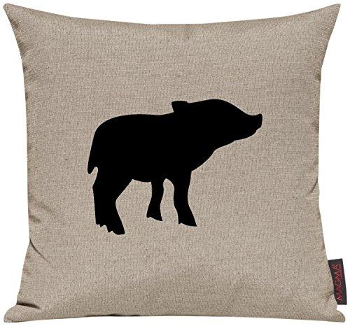"""Kissenhülle für Auserwählte! Sofakissen Tiere """"Dein lieblings Tier Ferkel Schwein"""", Farbe taupe"""
