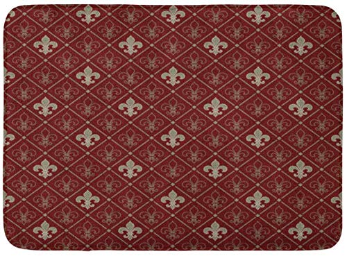 AdaCrazy Rotes Muster Fleur De Lis LYS Mittelalterlich Floral Retro Zimmer Hintergrundmuster Flanell Indoor Bodenmatte Badteppiche verhindern und Schleudern super saugfähiger 3D-Druck 60x40cm