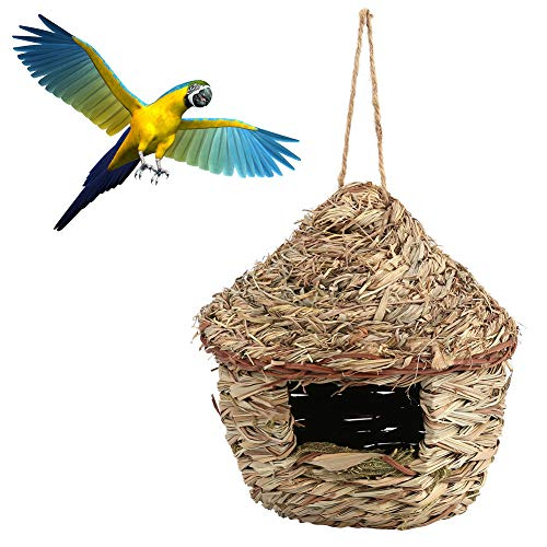 FTVOGUE Casa de pájaros de Paja Tejida a Mano Nido para incubar cría Jaula de Hierba para Loro hámster pequeñas Mascotas Inicio decoración(L)
