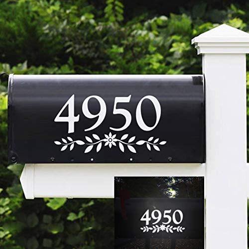 3  Reflective Mailbox Numbers Die Cut Decal Rustic Style Flowers House Number Address Sign Front Door Decal Vinyl Lettering Farmhouse Decor 3 Set, White