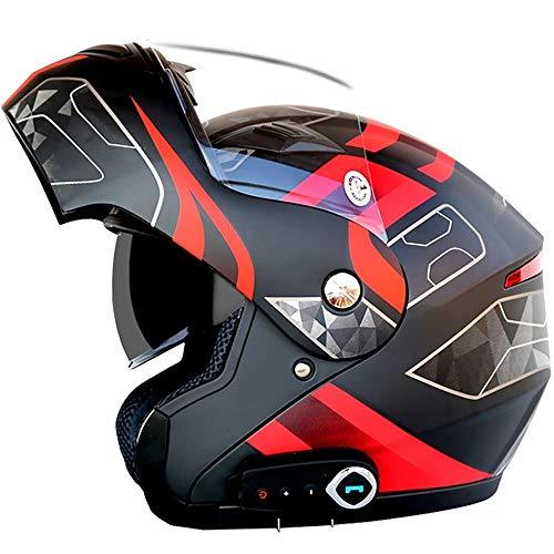 Stella Fella Cascos Hombres Anti-niebla doble lente motocicleta casco Bluetooth casco eléctrico motocicleta casco Bluetooth teléfono contestador automático calidad sonido estéreo extraíble