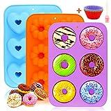 Molde para Donut de Silicona, Molde de Silicona para Hornear Donut,3 Unidades Antiadherente Molde de Silicona 6 Cavidades Bandeja de Rosquillas Molde para Donuts para Tartas Magdalenas Galletas Bagels