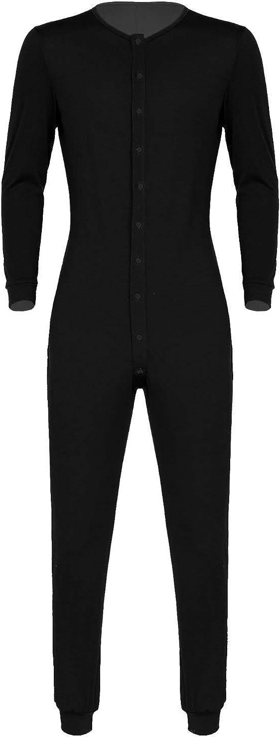 YiZYiF Men's Long Sleeve Button Sleepwear Casual O Neck Pajamas Jumpsuit Nightwear Homewear Rompers