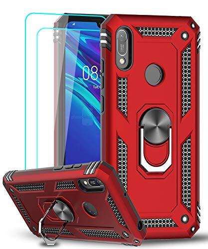 LeYi Cover per Huawei Y6 2019 / Honor 8A, Custodia con Pellicola in Vetro Temperato [2 Pack], 360°Rotante Anello Magnetica Supporto TPU Case Silicone Custodie per Huawei Y6 2019 / Honor 8A Rosso