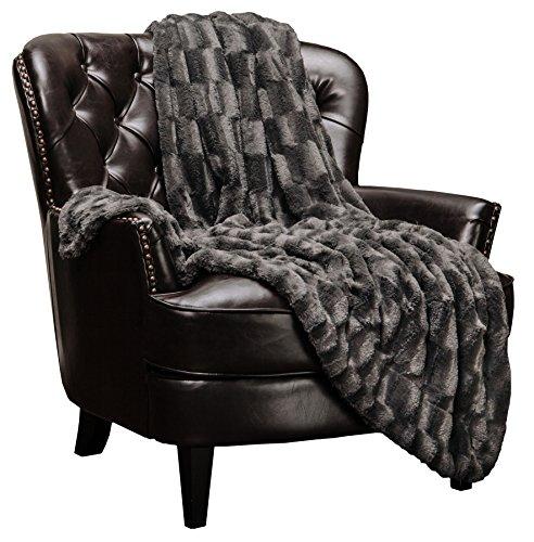 Chanasya Fuzzy Faux Fur Elegant Rectangular Embossed Throw Blanket - Plush Sherpa...