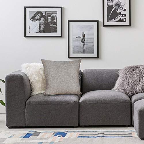 Promini federa decorativa per cuscino VI-496 grigio verde foglia, cotone lino federa per cuscino per divano, camera da letto, bar, caffetteria, 50,8 x 50,8 cm
