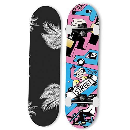 Gnitoaim Skateboard Professionale da Skateboard Completo Adatto per Adolescenti Adulti, Ragazzi e Ragazze, Skateboard Acero-Ragazzo di Skateboard