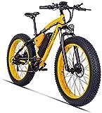 Eléctrica De Bicicletas De Montaña De 26 Pulgadas 500W 48V 17AH con Extraíble De Gran Capacidad La Batería De Litio Disco Bicicleta Eléctricas Bicicleta 21 Speed Gear Y Tres Modos De Trabajo,Oro