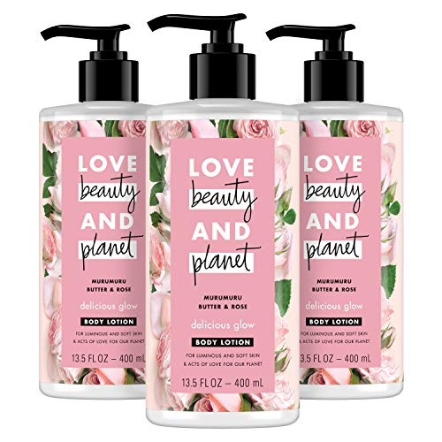 Love Beauty and Planet Delicious Glow Body Lotion For Soft, Glowing Skin Muru Butter & Rose Oil Paraben Free, Sulfate Free, and Vegan 13.5 oz 3 count
