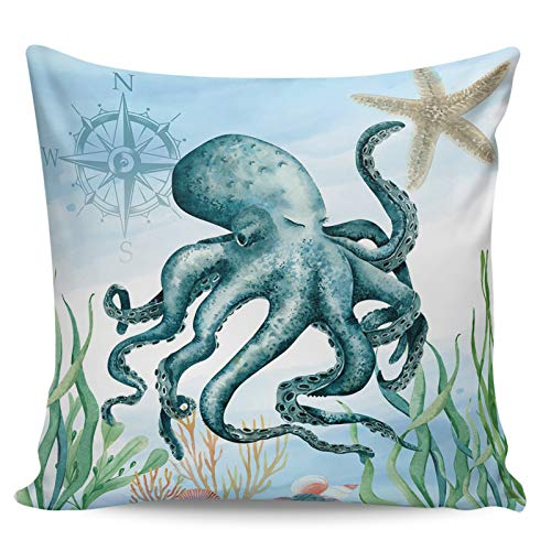 Decorative Throw Pillow Covers- Ocean Coast Theme Octopus Starfish Coral Seaweed Compass ShortPlushCushion Cover for Sofa Couch Bed Chair, Ultra Soft and Breathable, 24