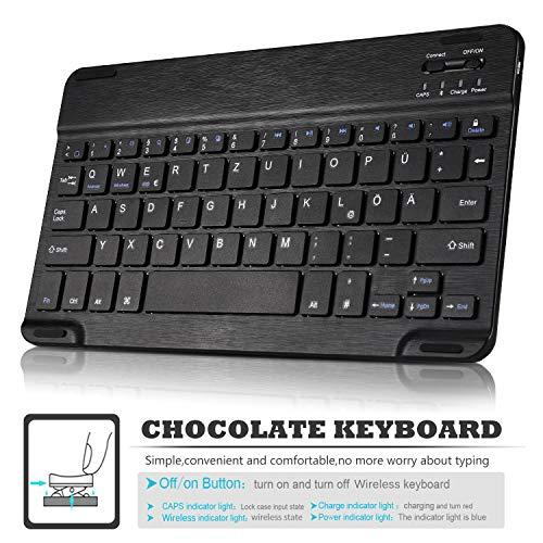 ELTD Tastatur Hülle für Samsung Galaxy Tab A T510/T515 (Deutsches QWERTZ-Layout), Ständer Hülle mit magnetisch Abnehmbarer Kabellose Tastatur für Samsung Galaxy Tab A T510/T515 10.1 Zoll (Schwarz)