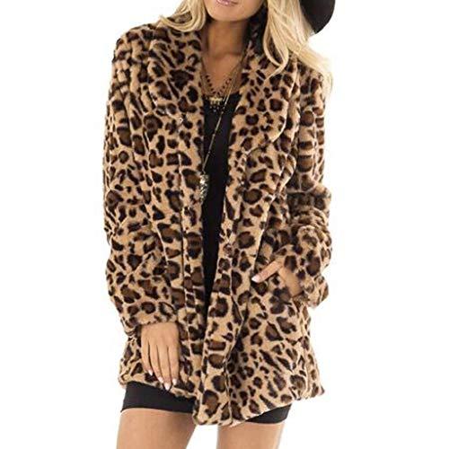 Abrigos Mujer Invierno Rebajas SHOBDW Liquidación Venta Elegante Cardigan Mujer Leopardo Sexy Chaqueta Mujer Grueso Calentar Piel Sintética Abrigos Parker Mujer Largos Lana(Marrón,L)