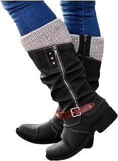 BIBOKAOKE Casual Knight Laarzen voor dames, hoge boots met ritssluiting, gespriem, retro Romeinse sandalen, platte schoene...
