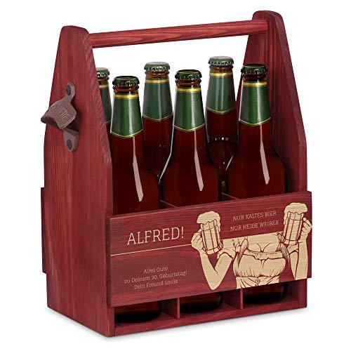 Murrano Bierträger für 6 Flaschen 0,5L + Gravur - Männerhandtasche mit Flaschenöffner - Größe: 25x17x32cm - aus Holz - Geschenk für Männer zum Geburtstag - Kaltes Bier