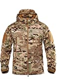 HARGLESMAN Mens Tactical Rain Windproof Lightweight Warm Outdoor Jackets Camo Soft Shell Hoode Outwear Winter Camping Hunting Skiing Snow Hiking Fishing Plus Size CP 2XL