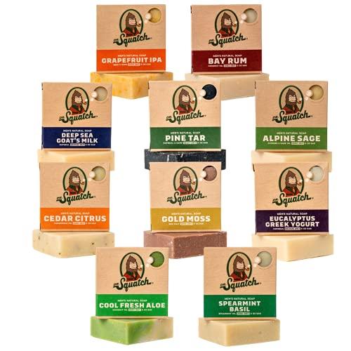 Dr. Squatch Men's Soap Gift Set (10 Bars) – Pine Tar, Cedar Citrus, Bay Rum, Spearmint Basil, Grapefruit IPA, Cool Fresh Aloe, Alpine Sage, Eucalyptus Greek Yogurt, Deep Sea Goat's Milk, Gold Moss