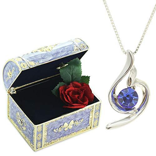 [デバリエ] y441-jv(sap) 9月誕生日プレゼント 女性 彼女 妻 嫁 母 人気 贈り物 ギフト 母の日のプレゼント ネックレス レディース セット品(オルゴール1組 ネックレス1組) ラッピング付 クリスタル