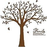 Hermosas pegatinas de vinilo extraíbles para pared de árbol genealógico con pájaros, enormes calcomanías de arte de pared de árbol blanco, decorar marrón