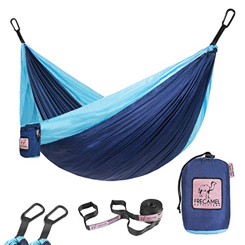 FRECAMEL Double Size Hammock for Camping - Portable Lightweight Parachute Nylon Hammocks for Outdoor Hiking Travel Backpacking Hold Up to 500 LBS, Classic Blue & Light Blue