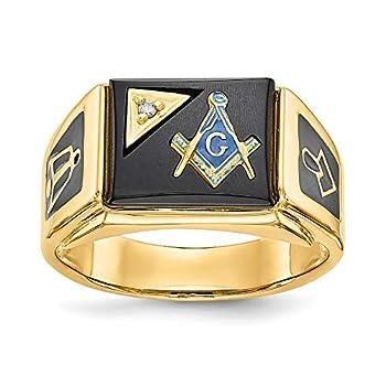 FB Jewels Solid 14K Yellow Gold aa Diamond Mens Masonic Ring Size 10.5