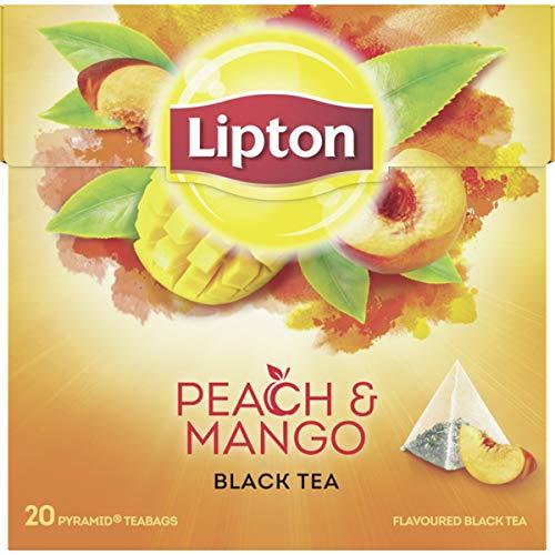 LIPTON - Mango Pfirsich Schwarzer Tee - 6 x 20 Pyramidbeutel (gesamt:120 st)
