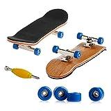 Lunji Kit Finger Skate en Bois, Mini Fingerboard Cadeau Jouet Enfant (Bleu)