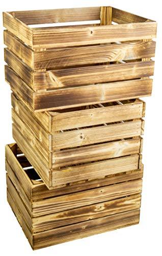 3er Set Neue Massive Obstkiste Apfelkiste Weinkiste aus dem Alten Land +++ 50 x 40 x 30 cm (NEU GEFLAMMT)