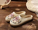 N&W Embroidered Shoes Vegan Handmade Women Canvas Mules Slippers Summer Ladies Comfortable Espadrilles Shoes Retro Bohemian Embroidered Shoes Old Beijing Embroidered Shoes