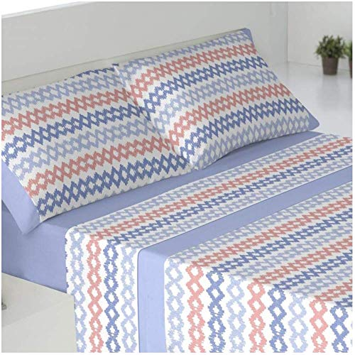 Juego DE S/ÁBANAS CORALINA Azul, 90/_x/_190//200 cm Cabetex Home Stars Mod 180 GR//M2-3 Piezas