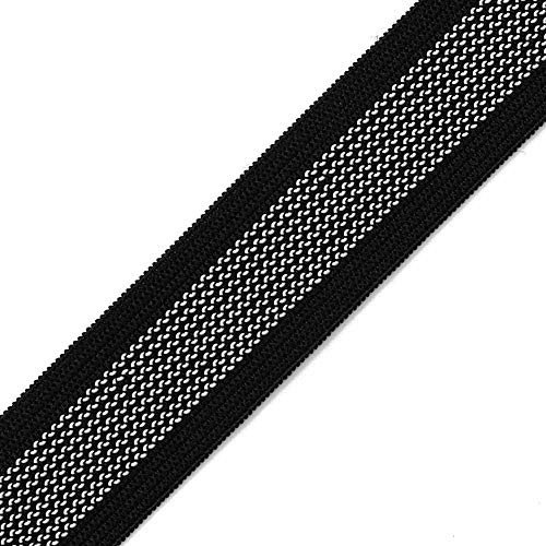 4-Yards 1' (25mm) Non Slip Gripper Elastic Gripper Ribbon Trim for Bike Shorts, Cuffs of skiwear, Underwear, SP-2043 (Black)