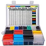 ASHINER 580 Piezas de Tubo Industrial Termocontraíble, 2: 1 Poliolefina Envoltura de Alambre 6 Color, 11 Tamaños, Kit de Manguitos para Cables Eléctricos con Caja