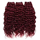 Brazilian Water Wave Virgin Human Hair Bundles 100% Unprocessed Burgundy Red Color Wet and Wavy Human Hair Weaves Extensions(10 12 14 Inch,Color 99J)