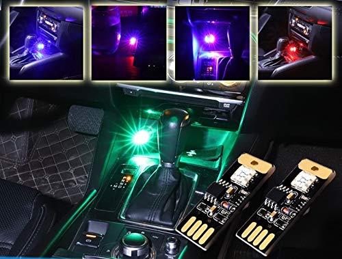 VISPREA車用音に反応タッチコントロールRGBアンビエントライトイルミライトカラー音声制御雰囲気ライトUSBライト車内アンビエントライティング自動車改装LED車内装飾用7色に切替フットランプパーツデコラティブランプルームランプ車内照明室内夜間ライト携帯便利C140
