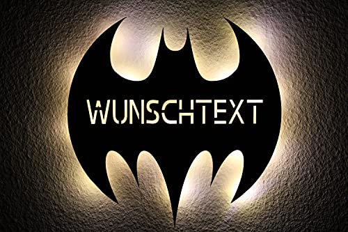 LEON-FOLIEN Batman murciélago LED luz nocturna personalizada con texto personalizado, grabado por láser, luz nocturna, regalo #B7